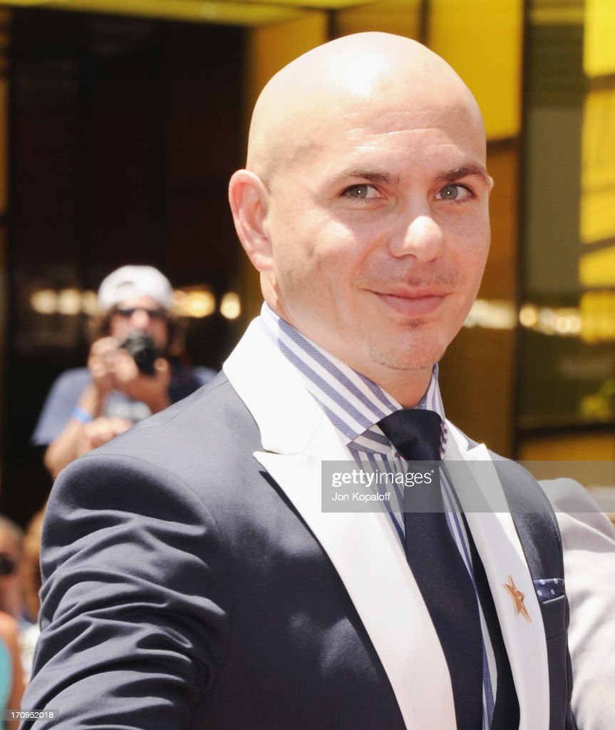 Singer Pitbull poses at Jennifer Lopez Honored With Star On The Hollywood Walk Of Fame on June 20, 2013 in Hollywood, California.