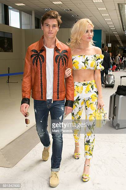Singer Pixie Lott and boyfriend Olivier Cheshire arrive at Nice airport during the annual 69th Cannes Film Festival at Nice Airport on May 14 2016 in...