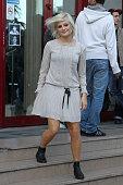 Singer Pixie Lott is sighted leaving the 'Goom Radio' station on September 26 2011 in Paris France