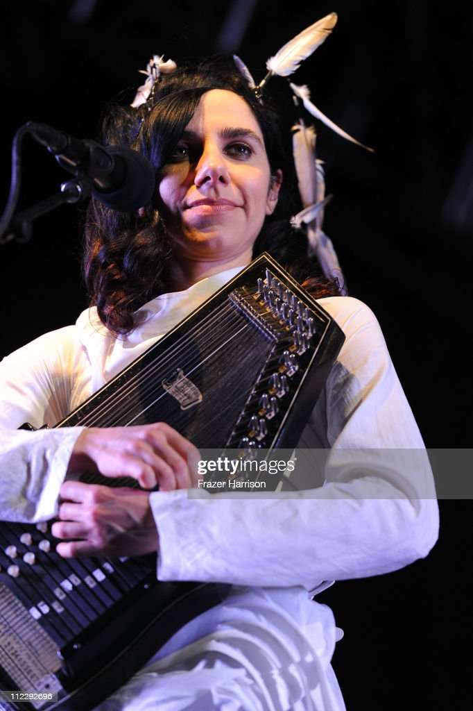Singer <a gi-track='captionPersonalityLinkClicked' href=/galleries/search?phrase=PJ+Harvey&family=editorial&specificpeople=215155 ng-click='$event.stopPropagation()'>PJ Harvey</a> performs during Day 3 of the Coachella Valley Music & Arts Festival 2011 held at the Empire Polo Club on April 17, 2011 in Indio, California.
