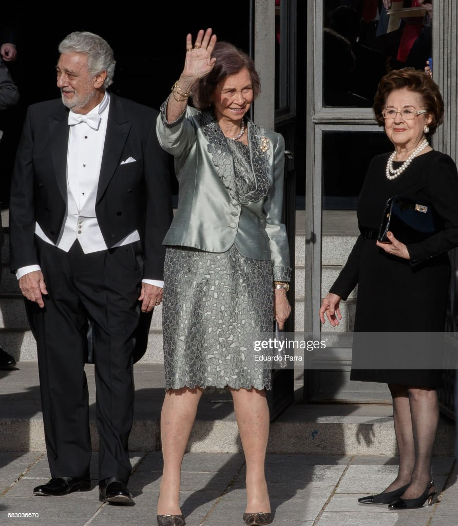 Singer Placido Domingo, Queen Sofia of Spain and Marta Domingo attends a Placido Domingo's concert at Royal Theatre on May 14, 2017 in Madrid, Spain.