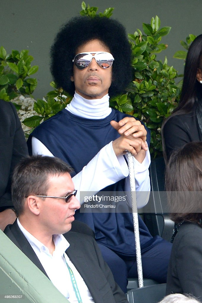 Singer <a gi-track='captionPersonalityLinkClicked' href=/galleries/search?phrase=Prince+-+Musician&family=editorial&specificpeople=203048 ng-click='$event.stopPropagation()'>Prince</a> attend the Roland Garros French Tennis Open 2014 - Day 9 on June 2, 2014 in Paris, France.