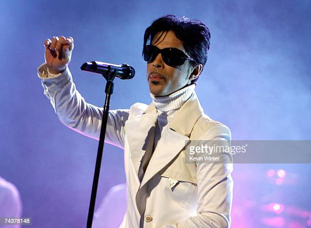 Singer Prince performs onstage during the 2007 NCLR ALMA Awards held at the Pasadena Civic Auditorium on June 1 2007 in Pasadena California