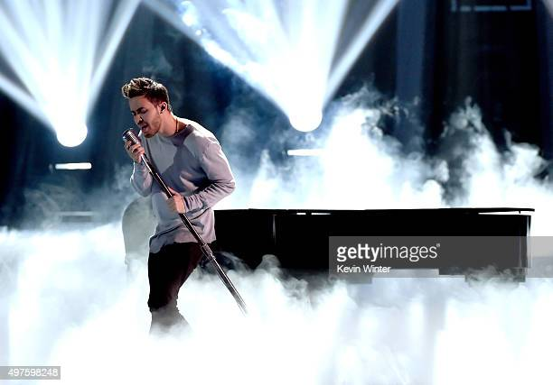 Singer Prince Royce performs onstage during rehearsals for the 16th Latin GRAMMY Awards at the MGM Grand Garden Arena on November 17 2015 in Las...