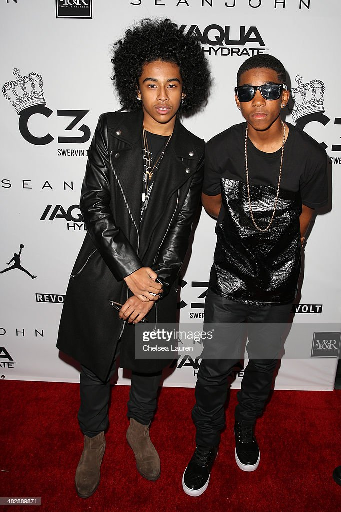 Singer Princeton of Mindless Behavior (L) and recording artist Myles 'BigDeal' Brown arrive at Christian Casey Combs' 16th birthday party at 1OAK on April 4, 2014 in West Hollywood, California.