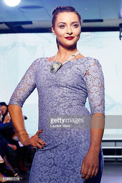 Singer Priscilla Betti walks the runway during the Christophe Guillarme show as part of the Paris Fashion Week Womenswear Fall/Winter 2016/2017 at...