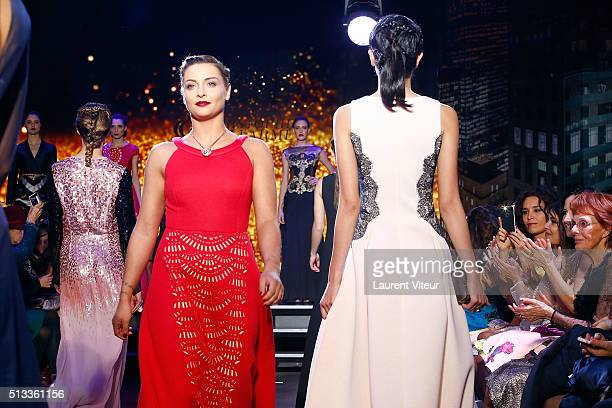 Singer Priscilla Betti walks the runway for Final during the Christophe Guillarme show as part of the Paris Fashion Week Womenswear Fall/Winter...