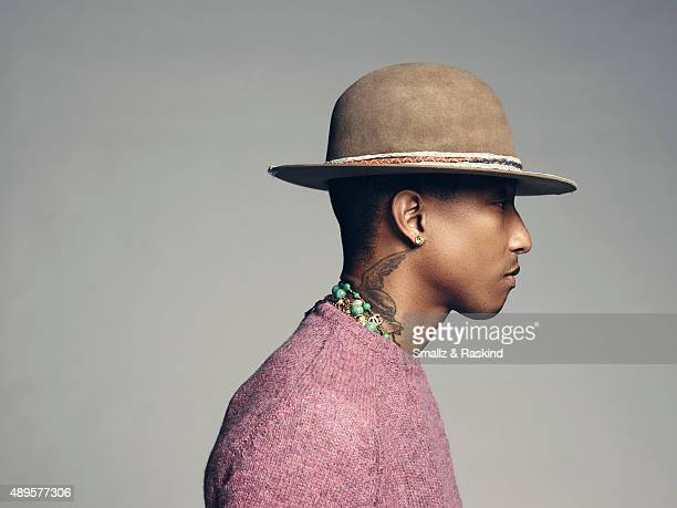 Singer producer fashion designer and coach on 'The Voice' Pharrell Williams is photographed for Billboard Magazine on September 9 2014 in Los Angeles...