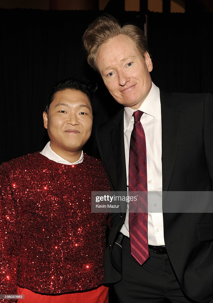 Singer Psy and Host <a gi-track='captionPersonalityLinkClicked' href=/galleries/search?phrase=Conan+O%27Brien&family=editorial&specificpeople=208095 ng-click='$event.stopPropagation()'>Conan O'Brien</a> attend TNT Christmas in Washington 2012 at National Building Museum on December 9, 2012 in Washington, DC. 23098_003_KM_0418.JPG