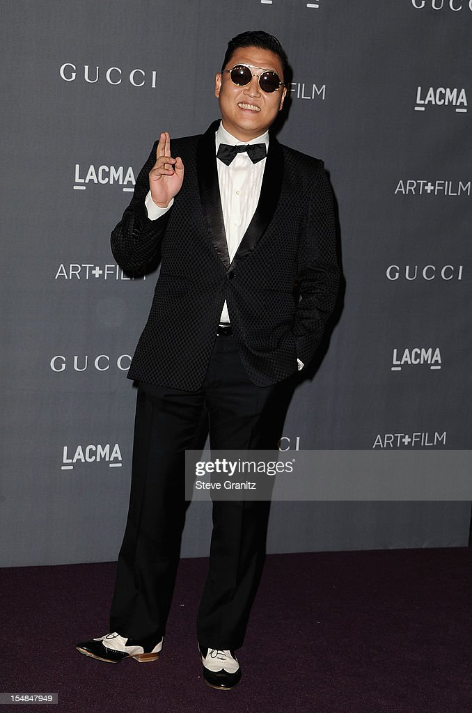 Singer PSY arrives at LACMA Art + Gala at LACMA on October 27, 2012 in Los Angeles, California.