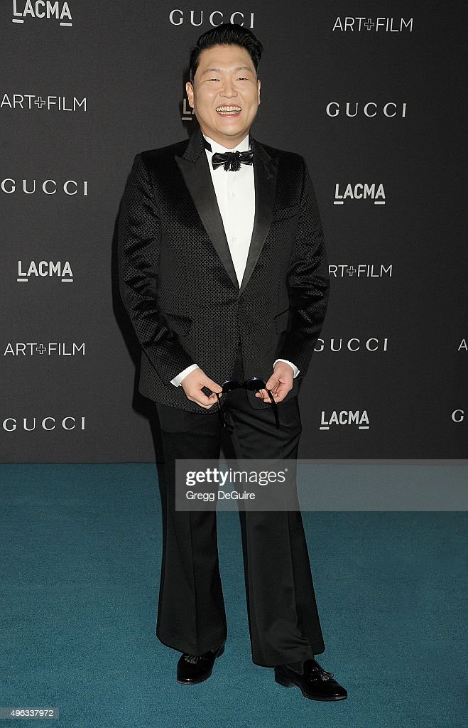 Singer PSY arrives at the LACMA 2015 Art+Film Gala Honoring James Turrell And Alejandro G Inarritu, Presented By Gucci at LACMA on November 7, 2015 in Los Angeles, California.