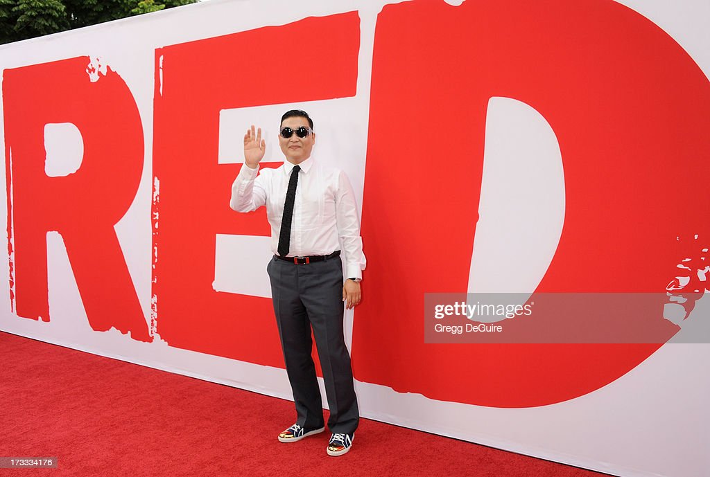 Singer PSY arrives at the Los Angeles premiere of 'Red 2' at Westwood Village on July 11, 2013 in Los Angeles, California.