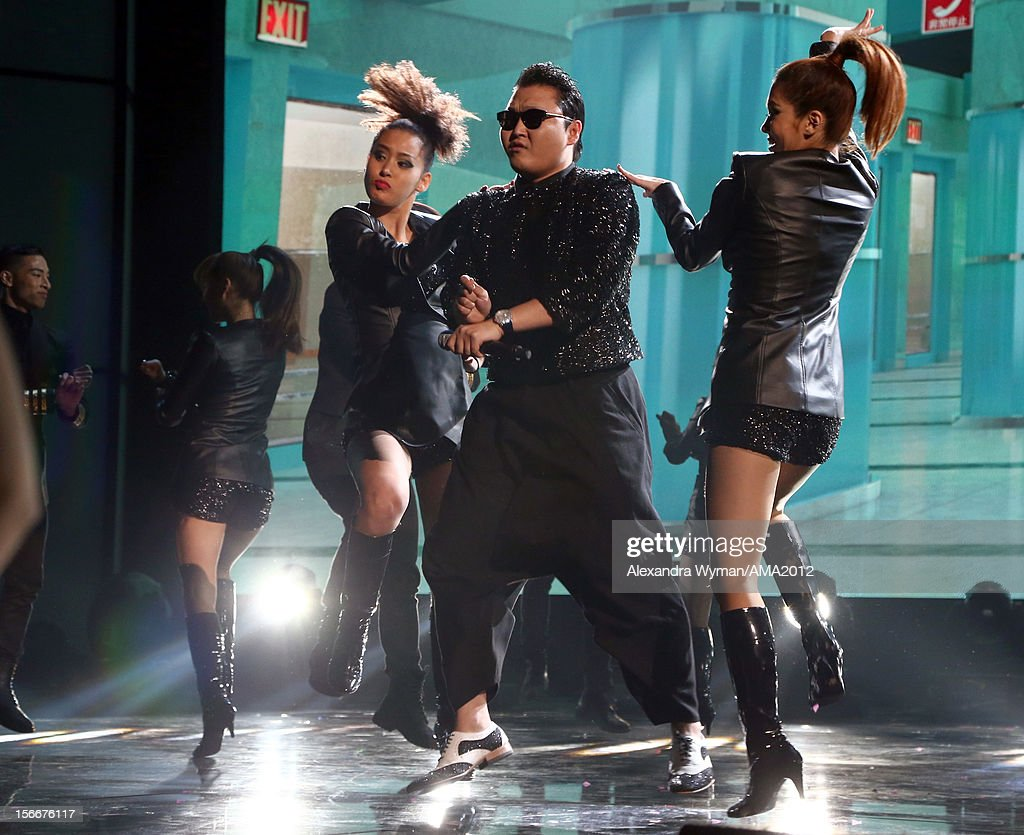 Singer Psy onstage at the 40th American Music Awards held at Nokia Theatre L.A. Live on November 18, 2012 in Los Angeles, California.