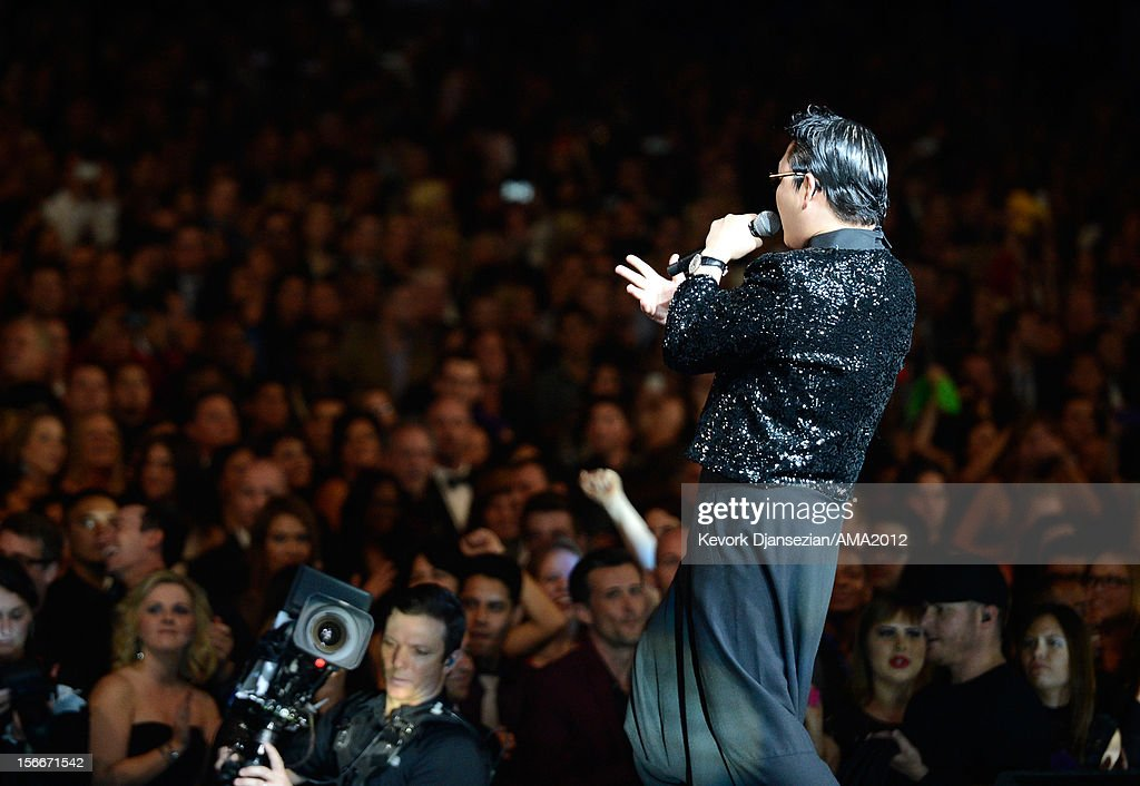 Singer Psy performs at the 40th American Music Awards held at Nokia Theatre L.A. Live on November 18, 2012 in Los Angeles, California.