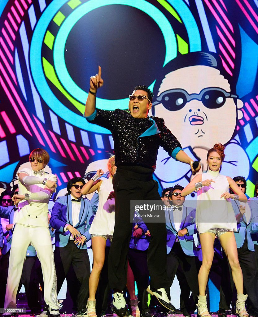 Singer Psy performs 'Gangnam Style' onstage during the MTV EMA's 2012 at Festhalle Frankfurt on November 11, 2012 in Frankfurt am Main, Germany.
