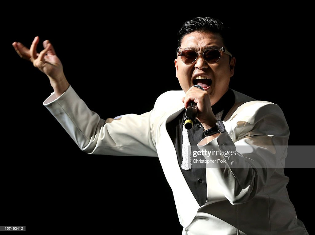 Singer <a gi-track='captionPersonalityLinkClicked' href=/galleries/search?phrase=Psy+-+Artist&family=editorial&specificpeople=9699998 ng-click='$event.stopPropagation()'>Psy</a> performs onstage during KIIS FM's 2012 Jingle Ball at Nokia Theatre L.A. Live on December 3, 2012 in Los Angeles, California.
