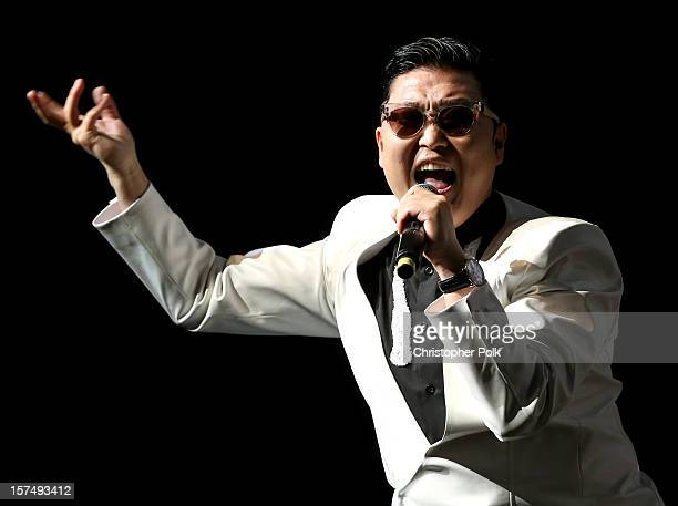 Singer Psy performs onstage during KIIS FM's 2012 Jingle Ball at Nokia Theatre LA Live on December 3 2012 in Los Angeles California