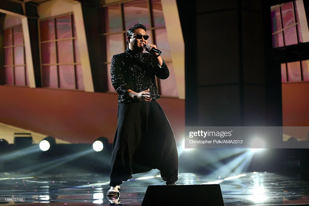 Singer PSY performs onstage during the 40th American Music Awards held at Nokia Theatre L.A. Live on November 18, 2012 in Los Angeles, California.