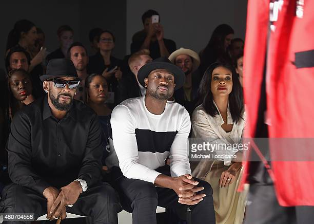 Singer R Kelly professional basketball player Dwyane Wade and his fiancee actress Gabrielle Union attend the Ovadia Sons front row during New York...