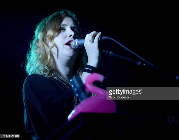 Singer Rachel Goswell of Slowdive and Mojave 3 performs onstage during FYF Festival on July 21 2017 in Los Angeles California
