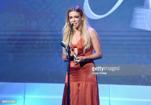 Singer Rachel Platten accepts an award onstage during the 42nd Annual Gracie Awards hosted by The Alliance for Women in Media at the Beverly Wilshire...