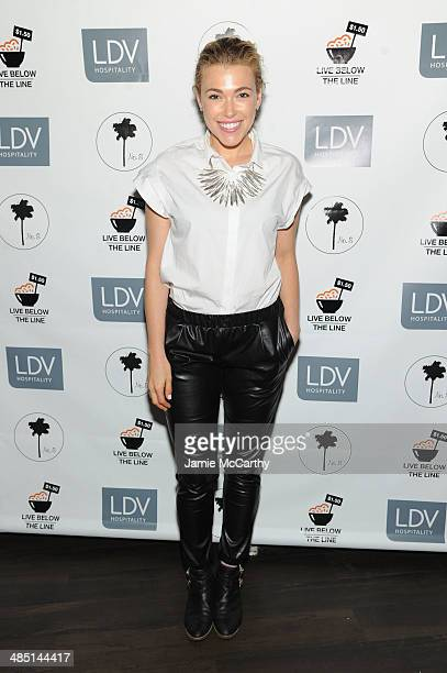 Singer Rachel Platten attends the Global Poverty Project and LDV Hospitality special event kicking off the 2014 Live Below the Line campaign to...