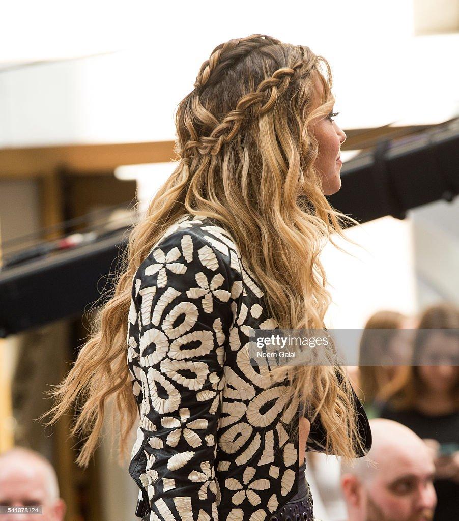 Singer Rachel Platten, hair detail, performs on NBC's 'Today' at Rockefeller Plaza on July 1, 2016 in New York City.