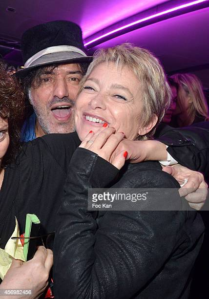 Singer Rachid Taha and Valerie Payet attend the James Arch Party At The River's King boat on october 9 2014 in Paris France