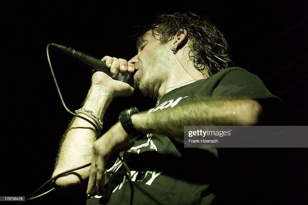 Singer Randy Blythe of Lamb of God performs live during a concert at the C-Club on August 6, 2013 in Berlin, Germany.