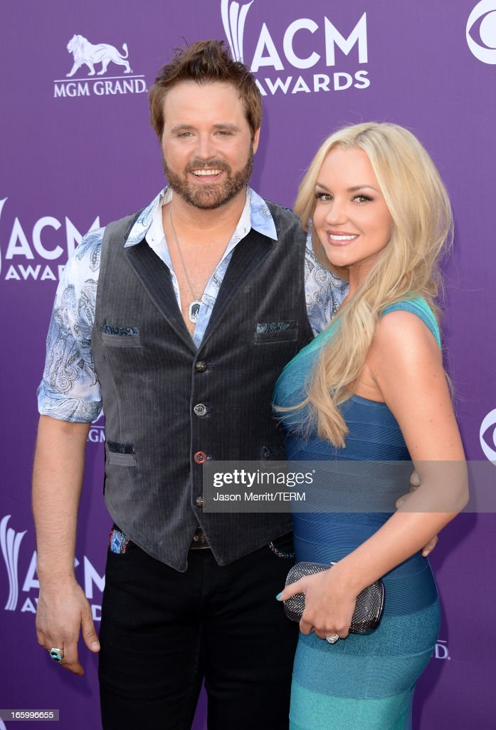 Singer Randy Houser and Jessa Lee Yantz arrives at the 48th Annual Academy of Country Music Awards at the MGM Grand Garden Arena on April 7, 2013 in Las Vegas, Nevada.