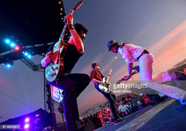 Singer Randy Houser's band perform on the Toyota Mane Stage stage during day 1 of 2017 Stagecoach California's Country Music Festival at the Empire...