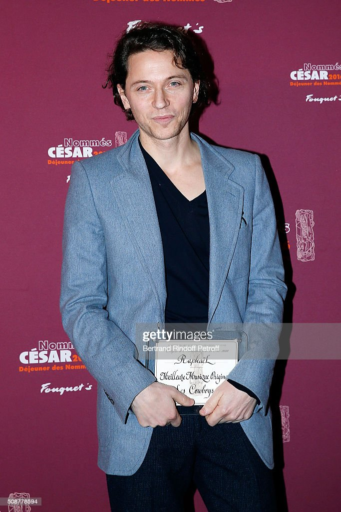 Singer Raphael attends 'Cesar 2016 Nominee Luncheon' at Le Fouquet's on February 6, 2016 in Paris, France.