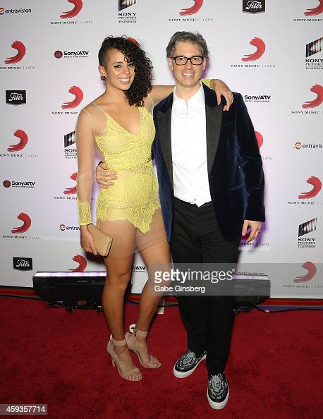 Singer Raquel Sofia and President of Sony Music US Latin Nir Seroussi attend Sony Music's Latin Grammy after party at XS The Nightclub at Encore Las...