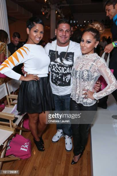Singer RaVaughn Brown TV personality Ronnie OrtizMagro and actress Adrienne Bailon attend Sammi Sweetheart Spring 2013 at the Metropolitan Pavilion...