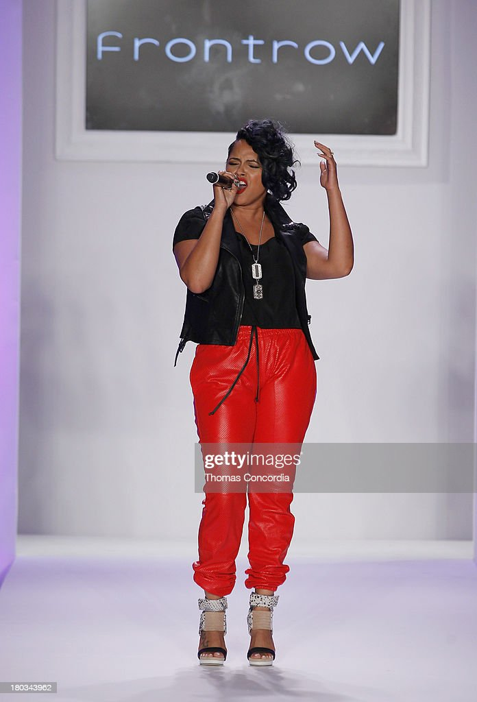 Singer RaVaughn performs on the runway during FrontRow by Shateria Moragne-El at the STYLE360 Fashion Pavilion in Chelsea on September 11, 2013 in New York City.