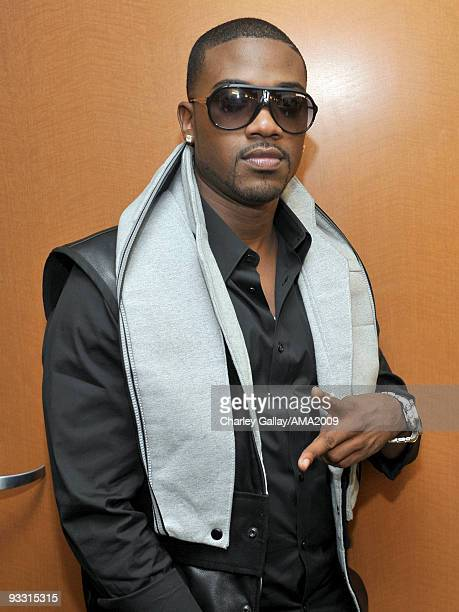 Singer Ray J poses backstage at the 2009 American Music Awards at Nokia Theatre LA Live on November 22 2009 in Los Angeles California
