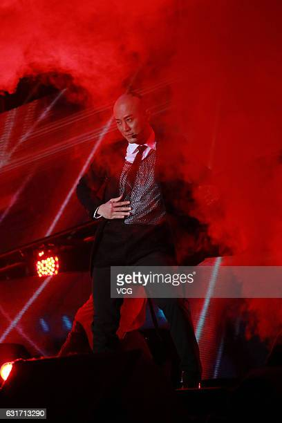 Singer Raymond Lam Fung performs onstage during Emperor Entertainment Group concert tour on January 14 2016 in Guangzhou Guangdong Province of China