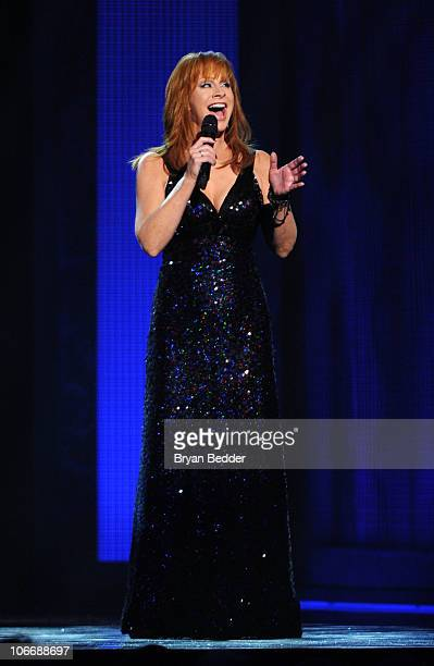 Singer Reba McEntire performs onstage at the 44th Annual CMA Awards at the Bridgestone Arena on November 10 2010 in Nashville Tennessee