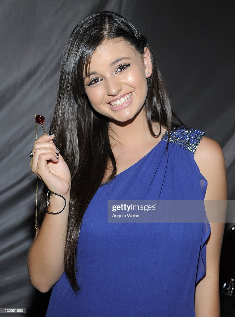 Singer Rebecca Black attends the Backstage Creations Celebrity Retreat at Teen Choice 2011 at the Gibson Amphitheatre on August 7 2011 in Universal...