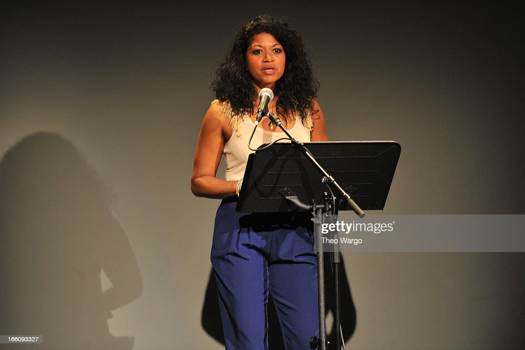 Singer Rebecca Naomi Jones performs onstage at the Celebrate Sundance Institute benefit for its Theatre Program, supported by CÎROC Vodka at the Stephen Weiss Studio on April 8, 2013 in New York City.