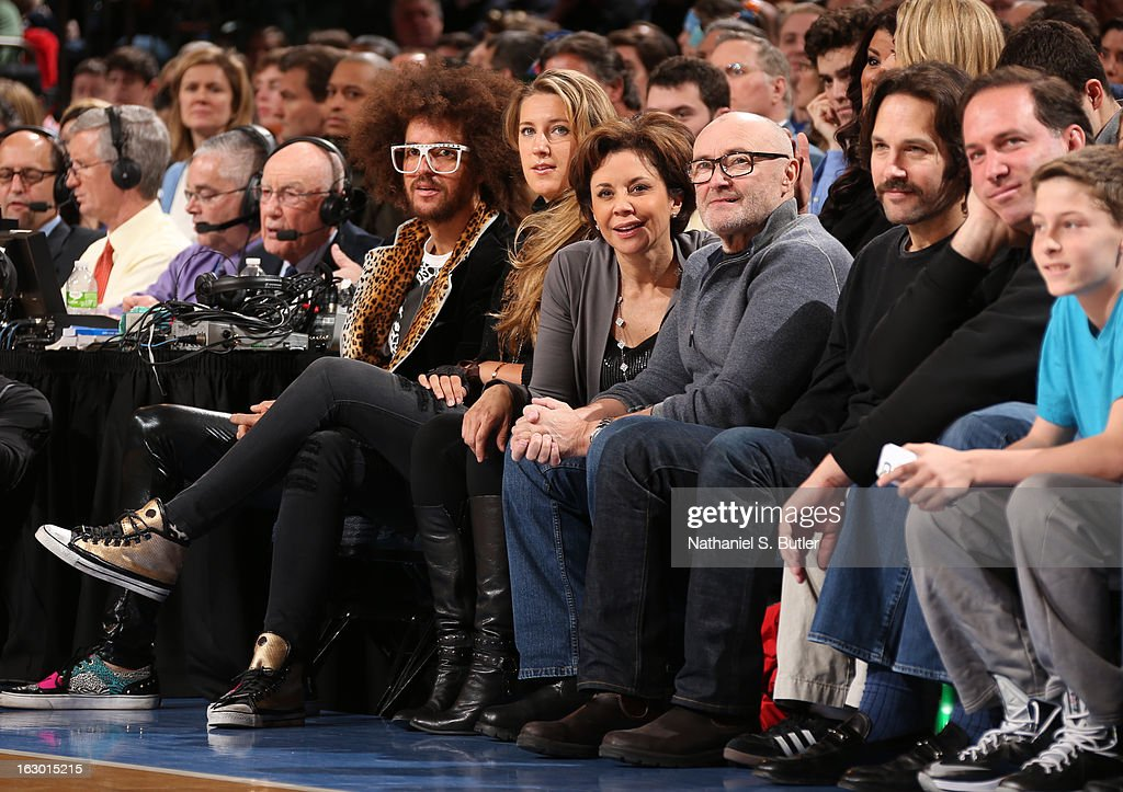 LMAFO singer Redfoo 2012 Olympic Gold Metal tennis star CBS2 News Anchor Dana Tyler with boyfriend Grammy Award winning Artist Phil Collins and Actor Paul Rudd watch the new York Knicks play the Miami Heat on March 3, 2013 at Madison Square Garden in New York City.