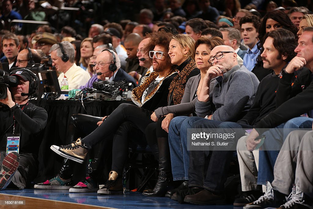 LMAFO singer Redfoo 2012 Olympic Gold Metal tennis star Victoria Azarenka CBS2 News Anchor Dana Tyler with boyfriend Grammy Award winning Artist Phil Collins and Actor Paul Rudd watch the New York Knicks play the Miami Heat on March 3, 2013 at Madison Square Garden in New York City.