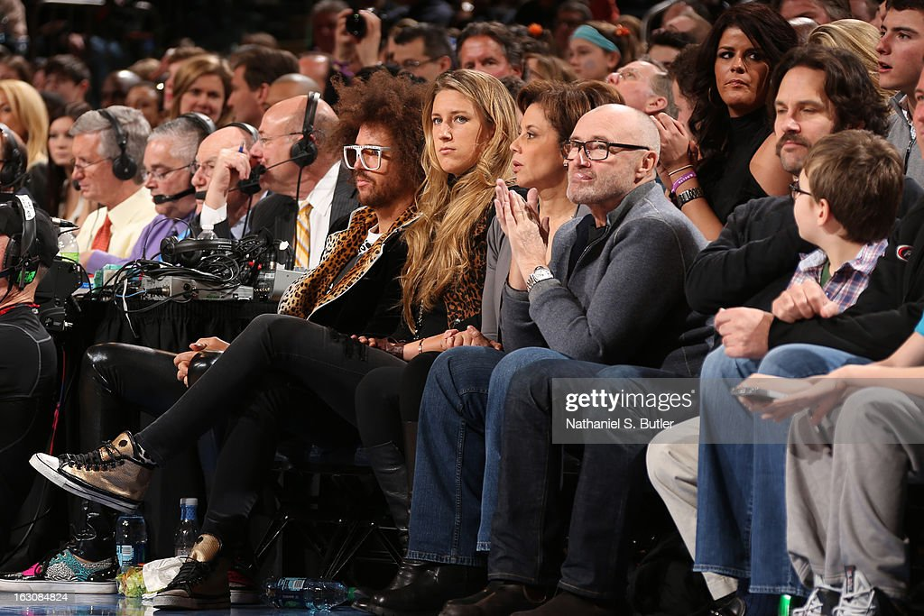 LMAFO singer Redfoo and 2012 Olympic Gold Metal tennis star Victoria Azarenka watch the New York Knicks play the Miami Heat on March 3, 2013 at Madison Square Garden in New York City.