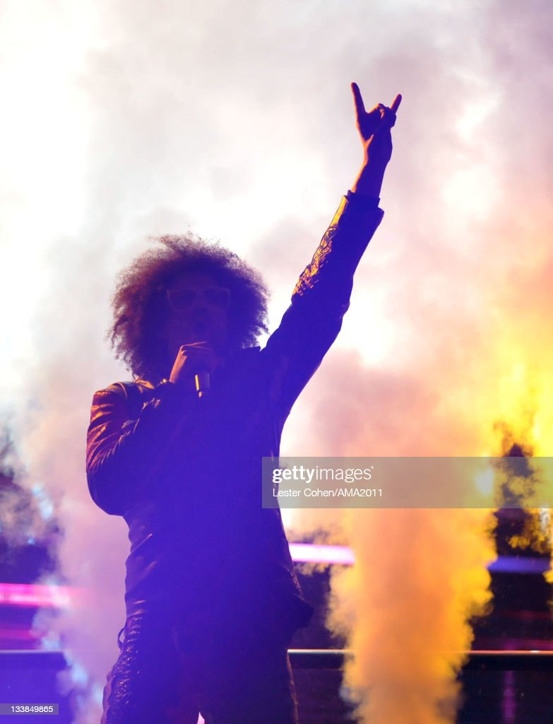 Singer <a gi-track='captionPersonalityLinkClicked' href=/galleries/search?phrase=Redfoo&family=editorial&specificpeople=5857552 ng-click='$event.stopPropagation()'>Redfoo</a> of LMFAO onstage at the 2011 American Music Awards held at Nokia Theatre L.A. LIVE on November 20, 2011 in Los Angeles, California.