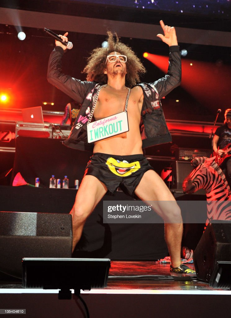 Singer Redfoo of LMFAO performs onstage during Z100's Jingle Ball 2011 presented by Aeropostale at Madison Square Garden on December 9 2011 in New...