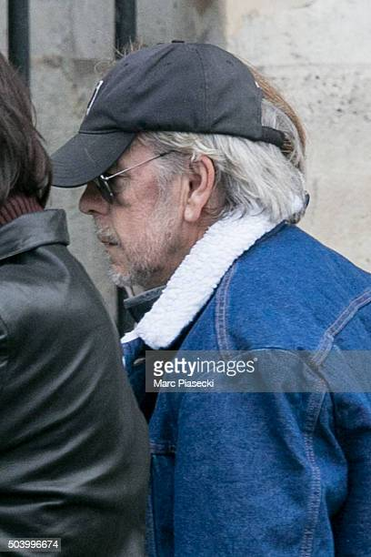 Singer Renaud Sechan arrives to attend the funeral of French singer Michel Delpech at Saint Sulpice church on January 8 2016 in Paris France