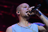 Singer Rene Perez Joglar aka Residente of Calle 13 performs on stage at Barclaycard Center on July 2 2015 in Madrid Spain