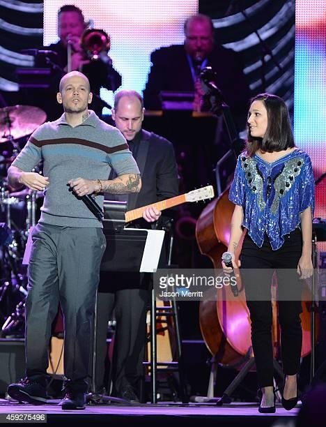 Singer Rene Perez Joglar of and Ileana Cabra Joglar of Calle 13 perform onstage during the 2014 Person of the Year honoring Joan Manuel Serrat at the...