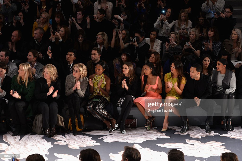 Singer Renee Fleming, actress Christine Baranski, guest, tv personality Olivia Palermo, Jada Pinkett Smith, model Chrissy Teigen, singer John Legend, and Rachel Roy attend the Vera Wang Fall 2013 fashion show during Mercedes-Benz Fashion Week at The Stage at Lincoln Center on February 12, 2013 in New York City.