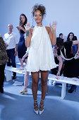 Singer Rhianna attends the Adam Selman Presentation MercedesBenz Fashion Week Spring 2015 at Algus Greenspon Gallery on September 5 2014 in New York...
